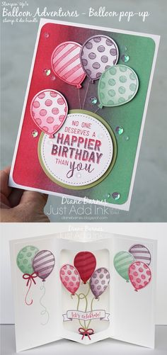 handmade balloon pop up birthday card using Stampin Up Balloon Adventures stamp & die bundle. Includes brayered backgorund & pop up centre. By Di Barnes #colourmehappy for Just Add Ink colour challenge 347