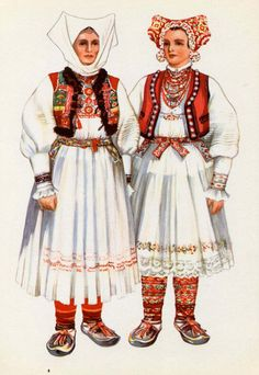 Croatian National Costume - Print to Frame - 1950s - V Kirin - Folk Ethnic Dress Croatia Jamnica. $8.00, via Etsy.