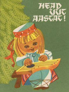 kritseldis:  New Year postcard from 1968, artist U.Sampu.