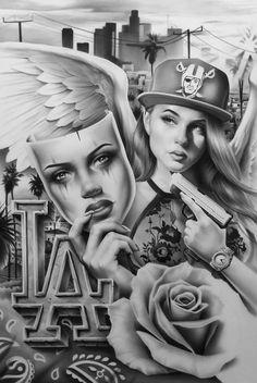 Chicano Art Tattoos, Chicano Drawings, Gangsta Tattoos, Tattoo Drawings, Angel Devil Tattoo, Angel And Devil, Arte Lowrider, Love Wallpaper Backgrounds, Lion Head Tattoos