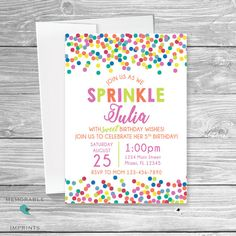 55 best girl birthday party invitations images on pinterest sprinkles birthday invitation birthday invitation sprinkles birthday invitations birthday party invitations printable invitations by memorable imprints filmwisefo