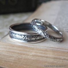 Diamond Pattern Wedding Bands Ring Set in by jorgensenstudio, on Etsy.com