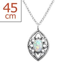Sterling Silver Round White Opal Necklace