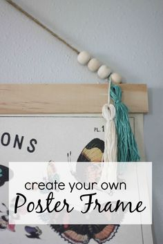 Create your own poster frame to hang large prints.  DIY steps from www.thedempsterlogbook.com