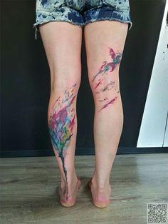28. #árbol & del pájaro - 45 #tatuajes acuarelas increíbles... → #Beauty