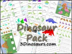 Free Dinosaur Pack by 3Dinosaurs.com - These Dinosaur printables are to be used with children from 2 to 7. It is over 60 pages long.
