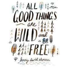 All Good things are Wild and Free ~Henry David Thoreau~ Inspirational Quotes.  Get out there and be a wild adventurer!:
