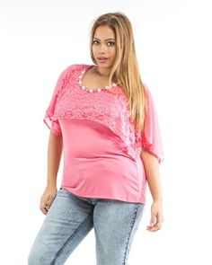 Women Knit Top Size 1X 2X 3X Solid Pink Jeweled Lace Chiffon Overlay Scoop Neck #RomanFashion #KnitTop #Casual