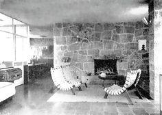 Vista interior, Casa Cetto, calle del Agua 130, Jardines del Pedregal, Ciudad de México 1949   Arq. Max Cetto  -   Interior view, Casa Cetto, Agua 130, Gardens of Pedregal, Mexico City 1949