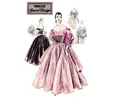 50s Cocktail Wedding Prom Dress & Stole by allthepreciousthings