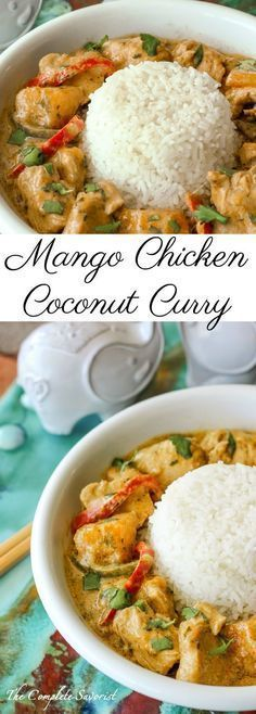 Mango Chicken Coconut Curry ~ A little bit spicy and creamy, and a whole lotta d., Chicken Coconut Curry ~ A little bit spicy and creamy, and a whole lotta delicious this Thai-inspired curry is loaded with chicken and mango. Indian Food Recipes, Asian Recipes, Healthy Recipes, Thai Curry Recipes, Thai Chicken Recipes, Mango Recipes, Healthy Food, Healthy Thai Recipes, Asian Dinner Recipes