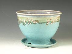 Pottery planter in turquoise glaze flower herb by Hodakapottery