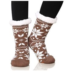 Women's One&Only Women's Fleece Lining Fuzzy Soft Christmas Knee Highs... ($25) ❤ liked on Polyvore featuring intimates, hosiery, socks, brown, socks & hosiery, knee length socks, knee high socks, fleece lined knee high socks, brown knee high socks and fuzzy socks