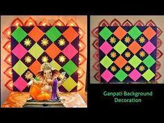 Flower Decoration For Ganpati, Eco Friendly Ganpati Decoration, Ganpati Decoration Design, Diwali Decoration Items, Thali Decoration Ideas, Paper Flower Decor, Diy Decoration, Background Decoration, Backdrop Decorations