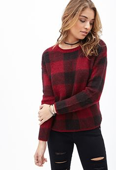 Fuzzy Plaid Sweater | FOREVER 21 - 2000119078