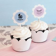 Vintage Baby Cupcake Wrappers & Cupcake Toppers - Set of 24