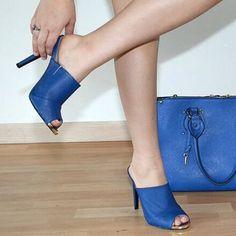 "Spotted while shopping on Poshmark: NWT Cobalt Blue Backless Mules 5"" Heels Qupid! #poshmark #fashion #shopping #style #Qupid #Shoes"
