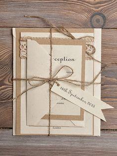 Dentelle Eco recyclage papier faire-part de mariage, Invitations de mariage de Style comté, Invitations de mariage rustique