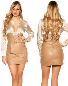 Peplum Dress, Bodycon Dress, Satin, Leather, Outfits, Dresses, Fashion, Vestidos, Moda