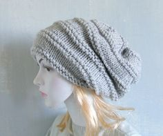 Slouchy Beanie Hat Handmade Hat Warm Hat Beanie by recyclingroom