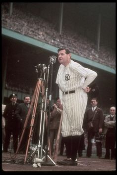 Babe Ruth addressing the crowd at Yankee Stadium on June 13th 1948 as his number 3 is retired. Ravaged by cancer, he would die two months later.