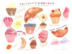 French croissants and cupcakes - Original watercolor painting.