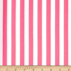 From Riley Blake, this cotton print fabric is perfect for quilting, apparel and home décor accents. Each stripe measures 1/2'' and is printed parallel to the selvege as pictured. Colors include white and hot pink.