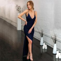 """""""If you want a fabulous, sexy look for your party this high slit wrap bodycon dress is the answer."""" #highslitbodycondress #backlesssatinpartydress Dresses For Less, Party Dresses For Women, Ball Dresses, Evening Dresses, Bodycon Dress Parties, Sexy Party Dress, Elegant Party Dresses, Maxi Dress With Slit, Wrap Dress"""