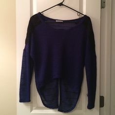 High low top Dark blue with crocheting on the shoulders. High low and slit in the back. Never worn! Charlotte Russe Tops