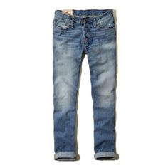 Hollister Classic Taper Jeans (88 BRL) ❤ liked on Polyvore featuring jeans, guys, relaxed fit tapered leg jeans, faded blue jeans, roll cuff jeans, blue jeans and light wash jeans