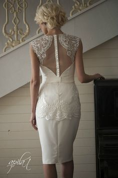 Short Wedding Dress, Ivory Wedding Dress, Crepe and Lace Dress L3  Details: - the main fabric is crepe with elastan, lace, lining ; - molded