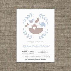 Boy Christening Invitation - Printable Noahs Ark themed invite in pale blue & brown with bunny, elephant, bird, fish, laurel wreath via Etsy