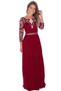 df6681568f23 Wine Lace Crochet Quarter Sleeve Maxi Dress https://womensonlinestore.com/ sexy