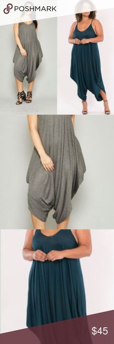 85cbade7af9 Plus Size Harem Jumpsuit Heather Grey Harem Jumpsuit Spaghetti String Strap  Full Length Low Back Dropped