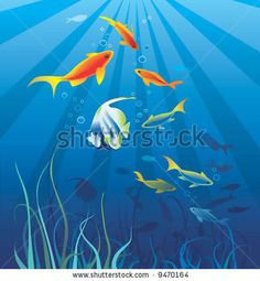 Underwater life, sea. Fish, seaweeds, rays, bubbles. Vector illustration