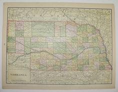 Vintage Kansas Map Antique Nebraska Map Original 1898 State County Unique Travel Map Christmas Gift Under 20 Gift for Home Cyber Monday Sale by OldMapsandPrints
