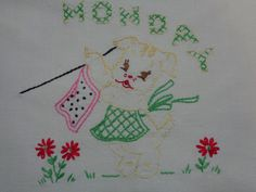 Beautiful Embroidered Vintage Doggie Tea Towel by starspatternstore on Etsy