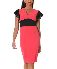 Another great find on #zulily! Bright Coral Crepe Cap-Sleeve Dress #zulilyfinds