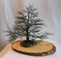 WIRE OAK TREE WITH NEST HOME DECOR ACCENT US ARTIST SCULPTURE BONSAI METAL NEST
