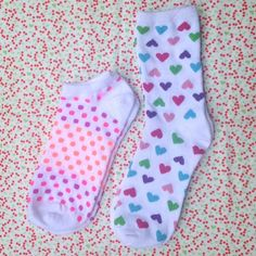 Cute Sock Bundle❤ Too cute for your feet!! 2 pairs of brand new socks in white with sweet patterns. One pair ankle length socks with pink, purple and orange polka dots. One pair of crew socks with glitter hearts in pink, fuschia, purple, blue and green. Soft knit with finely ribbed elastic top. Adult one size fits most women. Lovely for Spring! Candymuse Accessories Hosiery & Socks