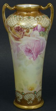 Two-Handled Edwardian Era Nippon Cabinet Vase with Gilt and Roses