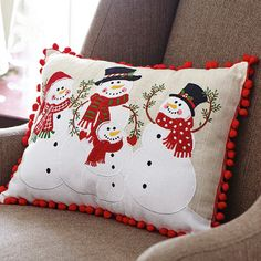 This rectangular decorative pillow features a Snowman Family of four, attired in hats, scarves, and mittens on a linen-colored background. Christmas Sewing, Christmas Snowman, Christmas Projects, Christmas Crafts, Christmas Decorations, Christmas Ornaments, Snowman Decorations, Snowman Ornaments, Christmas Themes