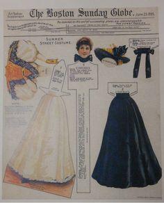 "1895 Boston Sunday Globe ""Paper Doll"" Art Fashion Supplement Reproduction"