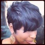 Thick locks of soft full body short black hair for modern black women. Love Hair, Great Hair, Gorgeous Hair, Short Hair Cuts, Short Hair Styles, Short Pixie, Pixie Styles, Pixie Cuts, Curly Short