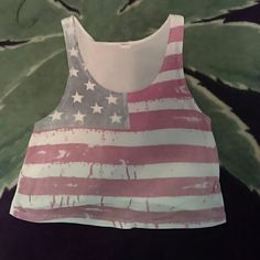 Vintage American Flag crop tank Cute for 4th of July! Size small barely cropped. Poetry Tops Crop Tops