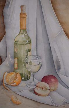 """Kerstin Birk, """"Weinflasche und Äpfel"""" (23) Mit einem Klick auf 'Als Kunstkarte versenden' versenden Sie kostenlos dieses Werk Ihren Freunden und Bekannten."""