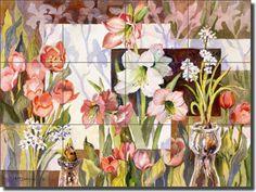 "Ceramic Tile Mural Backsplash McEachron Flowers Floral Art 17""x12.75"" RW-AM007"
