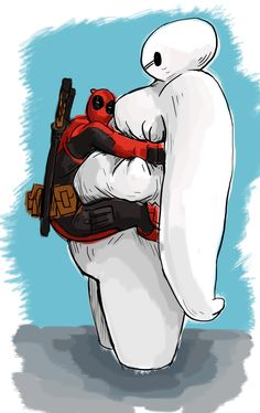#Deadpool #Fan #Art. (Deadpool & BAYMAX) By: Halil ÖZCANLI. (THE * 5 * STÅR * ÅWARD * OF: * AWWWWW YEAH, IT'S MAJOR ÅWESOMENESS!!!™)[THANK U 4 PINNING!!!<·><]<©> ÅÅÅ+(OB4E)