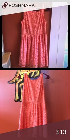 Forever 21 coral lace dress High neck lace dress perfect for any occasion. Worn once to a graduation ceremony. Forever 21 Dresses Midi