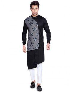 Printed pattern black hue party kurta suit Gents Kurta Design, Boys Kurta Design, Kurta Pajama Men, Kurta Men, Indian Men Fashion, Mens Fashion Suits, Men's Fashion, Wedding Kurta For Men, Best Smart Casual Outfits